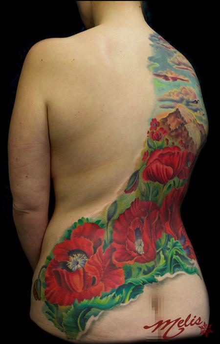 Tattoos - Poppy Mountain scene - 82496