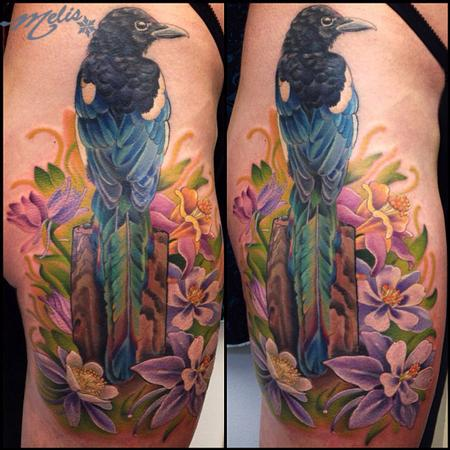 Tattoos - WIP Magpie bird with Columbines - 80814