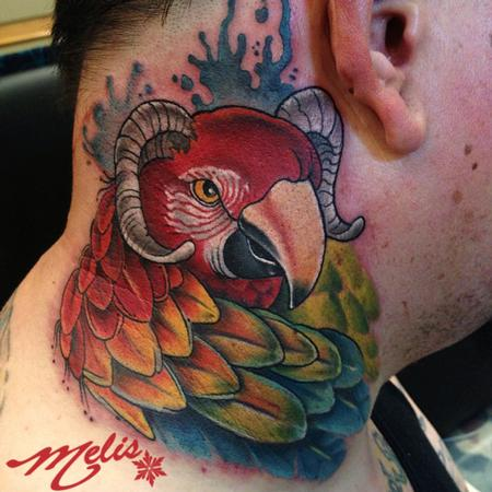 Tattoos - parrot with goat horns - 80816