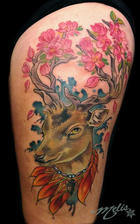 Tattoos - deer head w/ cherry blossom branches - 79200
