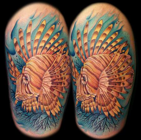 lion fish on calf Tattoo Design Thumbnail