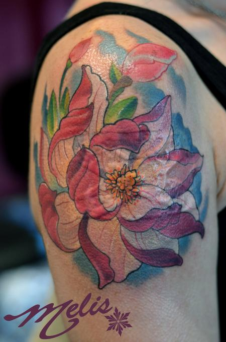 Tattoos - Magnolia flower, laser burn cover up - 75724