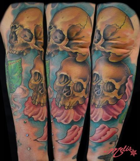 Tattoos - skulls, forearm filler in prog - 76817