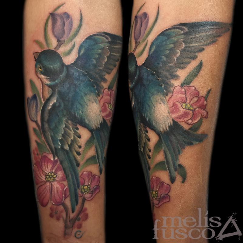 Feminine mountain blue bird by melissa fusco tattoonow for Tattoo shops in colorado springs