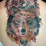 Wolf with gray wash gradient trees Tattoo Design Thumbnail