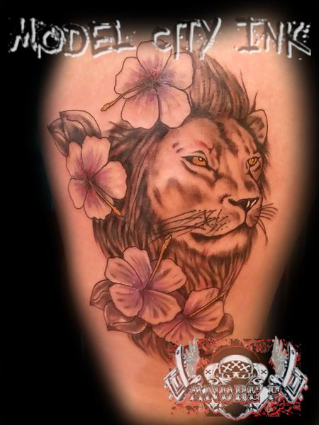 Tattoos - Tropical Lion - 133715