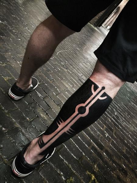 Tattoos - Blackwork Calf Tattoo - 115372