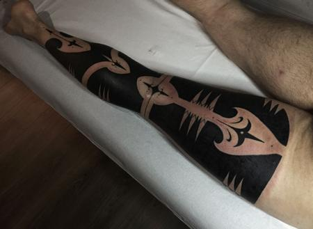 Tattoos - Blackwork Patterned Leg Sleeve Tattoo - 115374