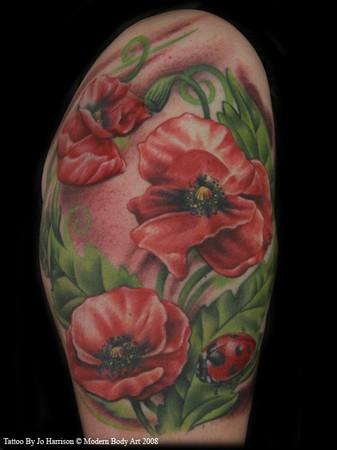 Ladybug Tattoos on Paradise Tattoo Gathering   Tattoos   Jo Harrison   Red Flowers Tattoo
