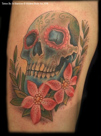 candy skull tattoo pictures. Sugar Skull Tattoo