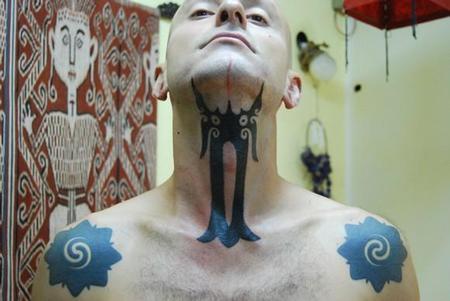 Tattoos - Hand Tapped Throat Tattoo - 60497