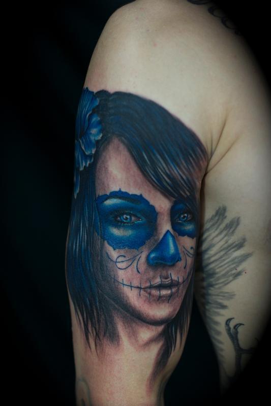 Tattoos - Day of the Dead Girl Blue Dia de los muertos - 72821