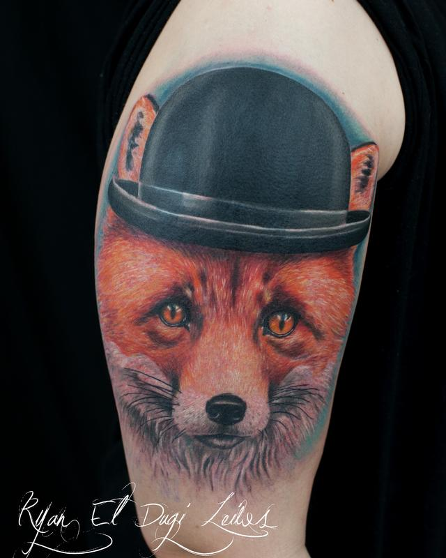 Tattoos - Fox Wearing Bowler Hat - 86261