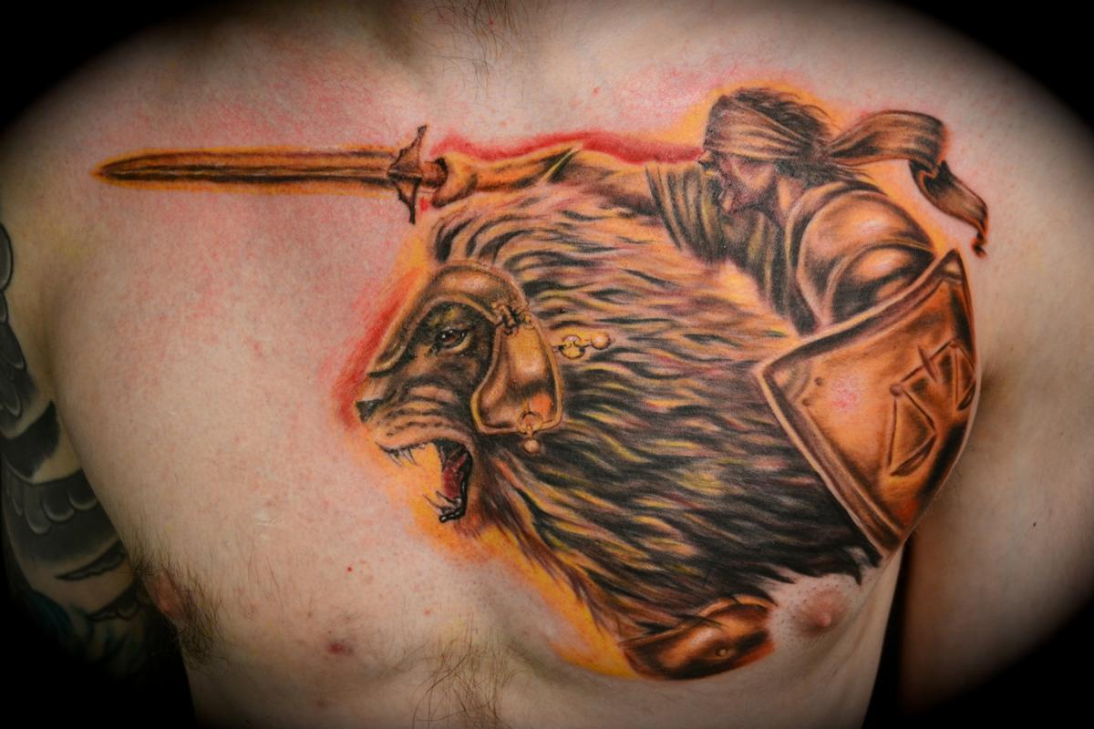 lion of judah and elijah by ryan el dugi lewis tattoonow. Black Bedroom Furniture Sets. Home Design Ideas