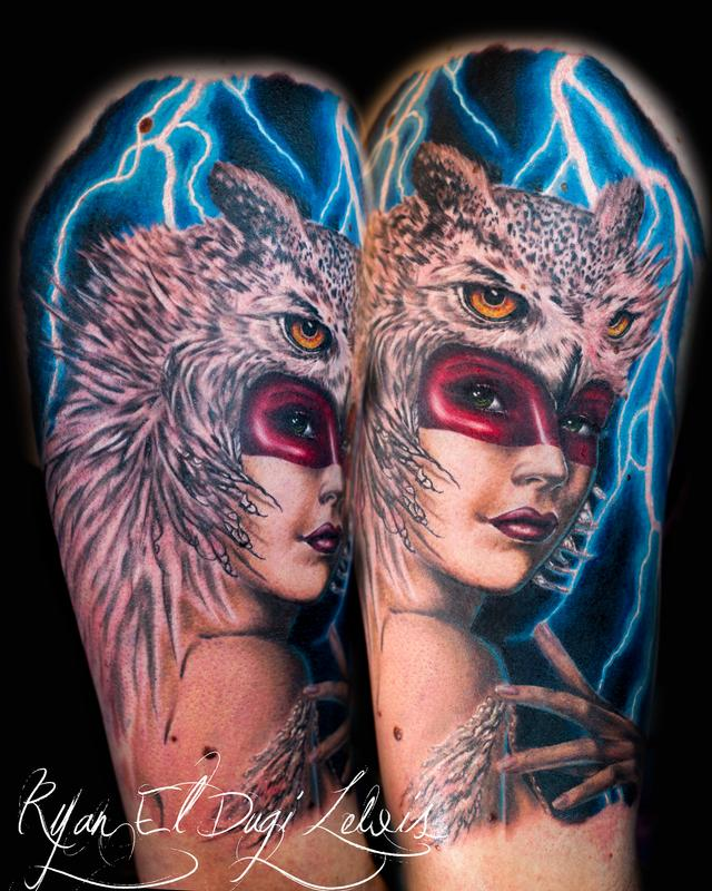 Tattoos - Owl Headdress Huntress - 91720