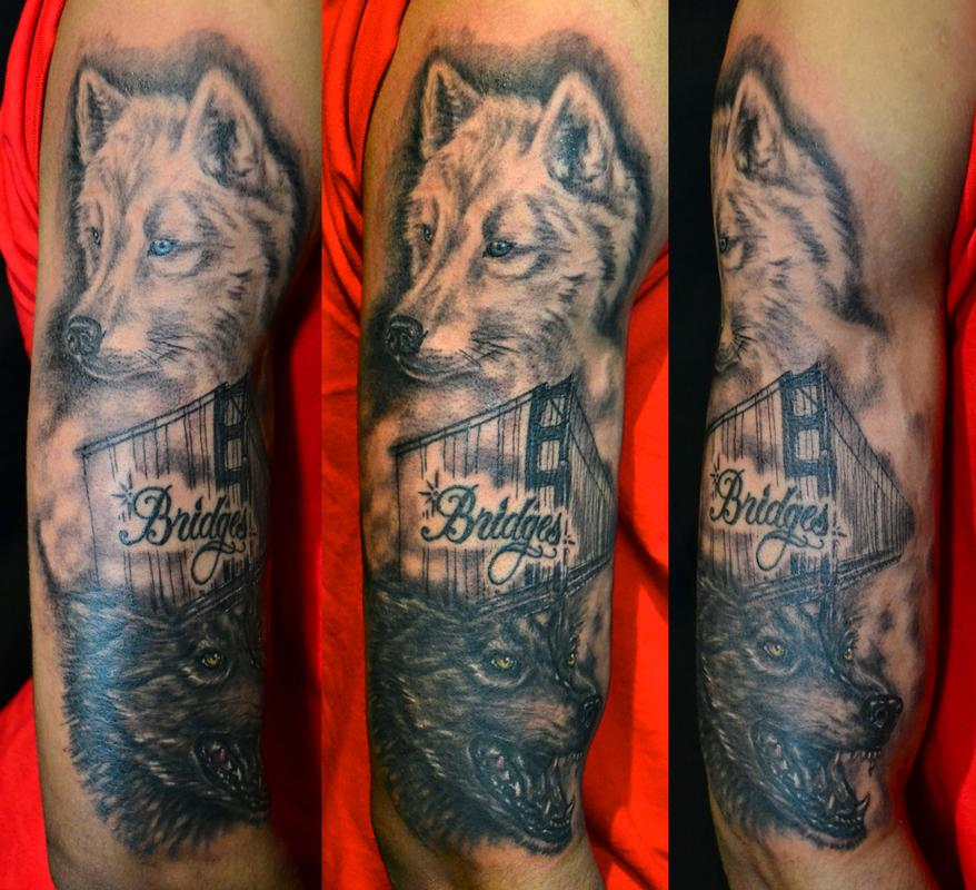 Tattoos - SF Golden Gate and Wolves - 59642