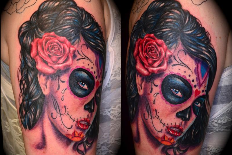 Tattoos - Day of the Dead woman color portrait - 59155