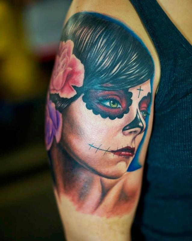Tattoos - Day of the Dead Girl Green Eyes  - 79470