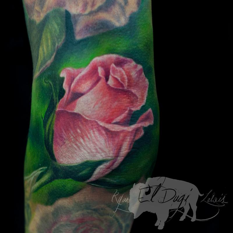 Tattoos - Pink Rose Bud  - 111431