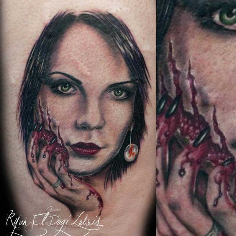 Tattoos - Horror portrait scratch face  - 89545