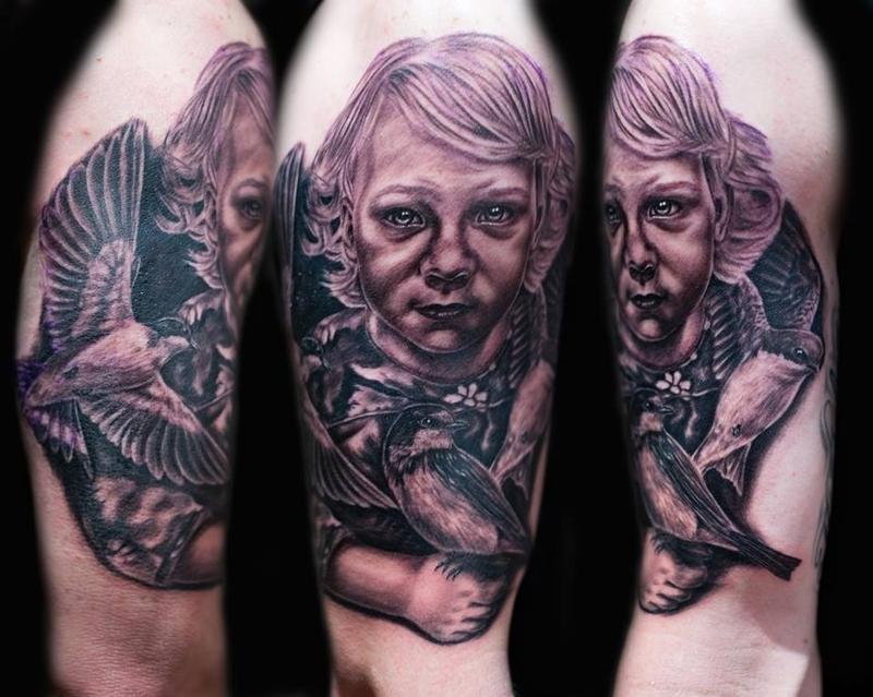 Tattoos - Baby portrait with Birds  - 79467