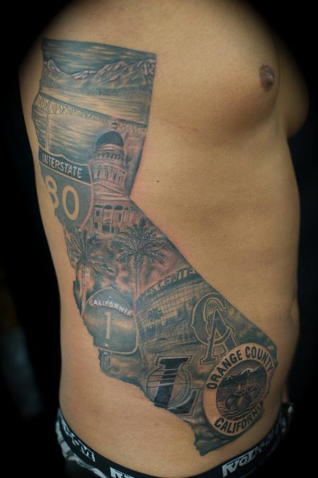 Cali mural california by ryan el dugi lewis tattoo for Arm mural tattoos