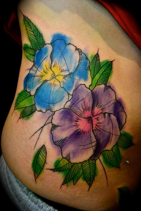 Pansies artsy watercolor Tattoo Design Thumbnail