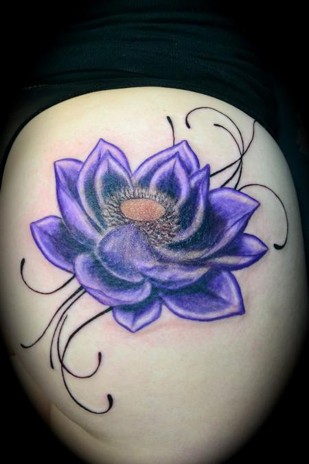 purple lotus by ryan el dugi lewis tattoonow