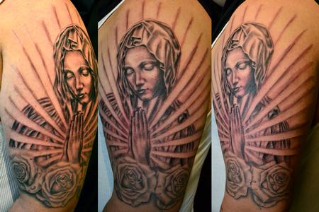 Tattoos - Black and Gray tattoos - Virgin Mary Roses Praying Hands Religious Sleeve
