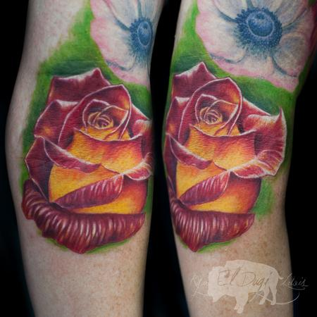 Red & Yellow Rose by Ryan El Dugi Lewis : Tattoos