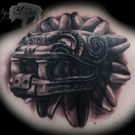 Quetzalcotle Stone Carving  Tattoo Design Thumbnail