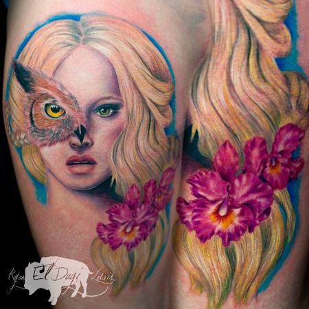 Owl Woman orchids Tattoo Design
