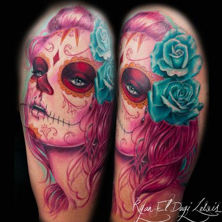 Day of the Dead Portrait Pink Tattoo Design Thumbnail