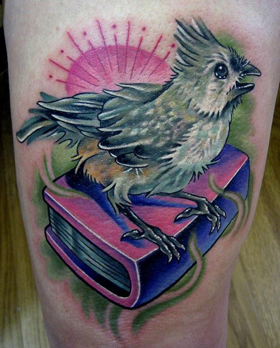 Bird and Book Tattoo Tattoo Design Thumbnail