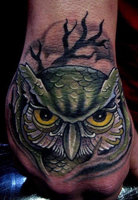 owl hand tattoo Tattoo Design Thumbnail