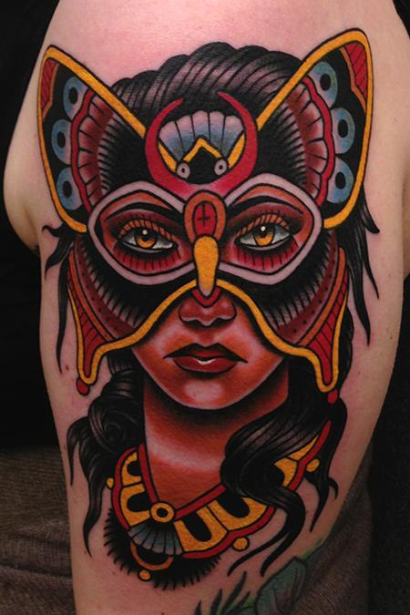 butterfly mask lady tattoo Tattoo Design Thumbnail
