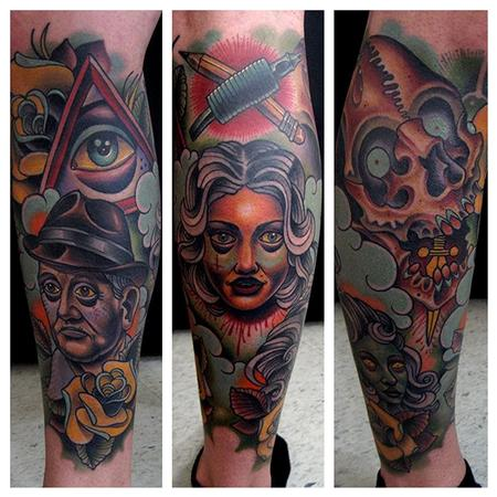 Jonathan Montalvo - illuminati leg sleeve tattooIlluminati Tattoo Sleeve