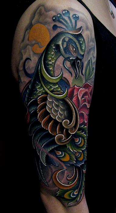 Jonathan Montalvo - peacock & rose tattoo
