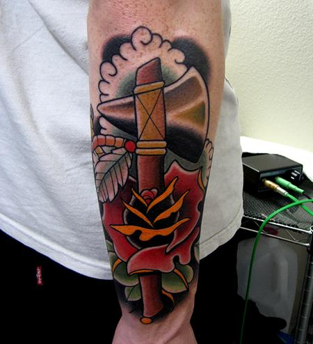 tomahawk rose tattoo Tattoo Design Thumbnail