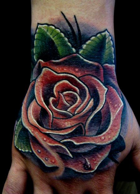 Poppy Rose hand tattoo Tattoo Design Thumbnail