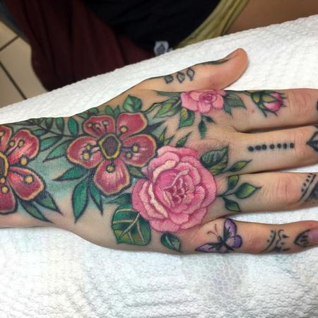 Tattoos - Floral hand - 122188