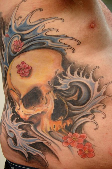 Skull with water & cherry blossoms Tattoo Design