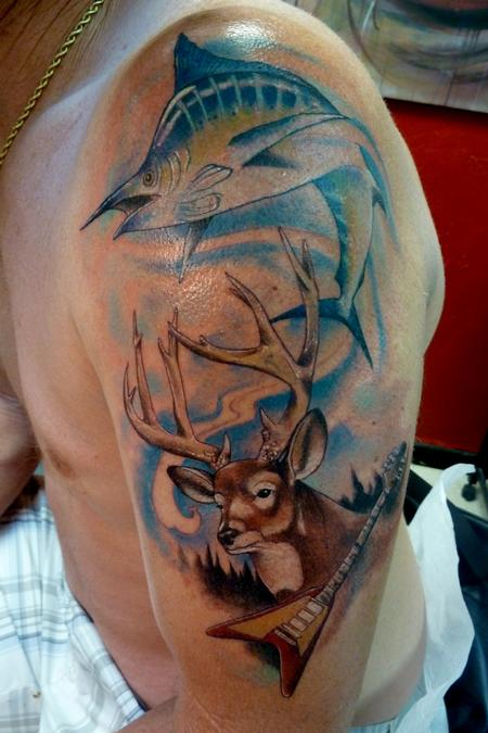 Marlin buck flying v by mully tattoonow for Hunting and fishing tattoos