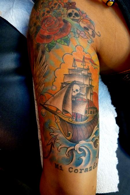 Tattoos - Traditional Pirate Ship - 66053