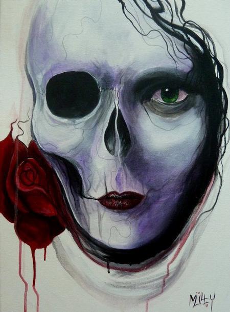 Tattoos - Skull Rose face - 64126