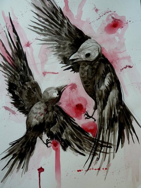 Tattoos - Birdfight Watercolor - 64127