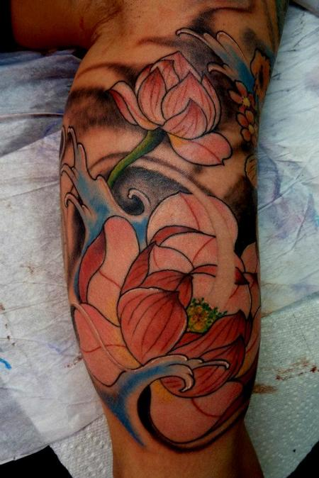 Tattoos - Traditonal Japanese lotus tattoo - 64094
