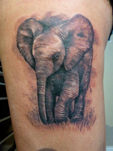Baby elephant tattoo Tattoo Design Thumbnail