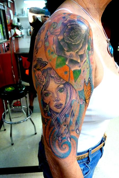 Tattoos - colorful half sleeve - 87382