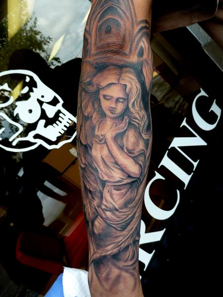 Tattoos - black n grey angel  - 79904